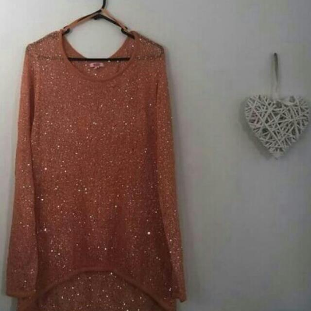 Orange Glittery Jumper. Size L 12-14