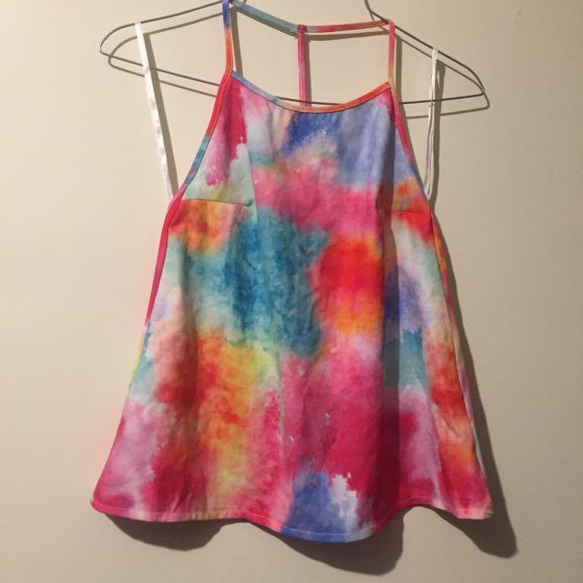 Rainbow Tie Dye Open Back Halter Size 8