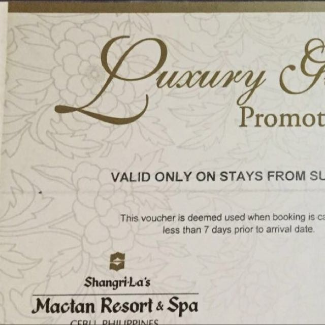 Shangrila Mactan Cebu Philippines - Deluxe Sea View 2 Vouchers Available