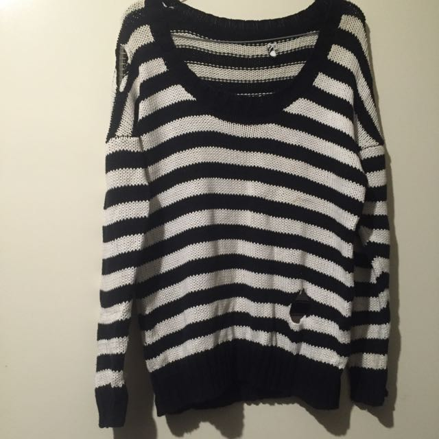 Striped Holey Knit Sweater Size M