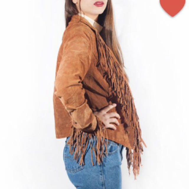 Suede Leather Fringe Jacket Vintage