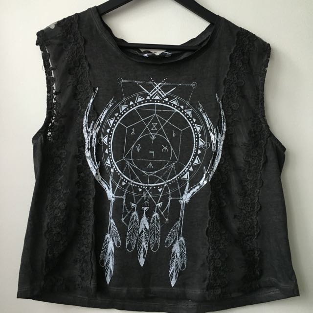 Supre ▪️grunge dream catcher tank in charcoal grey