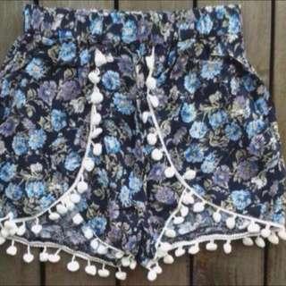floral pompom shorts