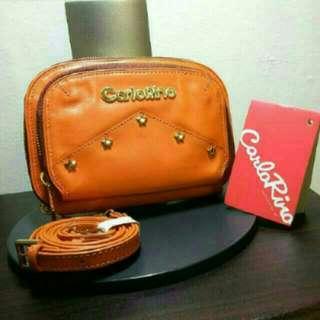 BN Carlo Rino Nego Orange Star Studded Gold Hardware Pouch Purse Sling Bag