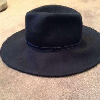 Wide Brim Navy Fedora Hat