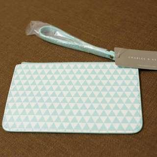 $190宅配含運✟新加坡小ck幾何圖案手拿包 手機包 手腕包 手提小包(綠)