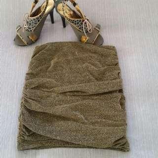 Bardot Gold Glitter Skirt