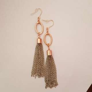 Red Gold Dangling Earrings