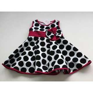 SARA KIDS Sleeveless Polka Dotted Bow Dress