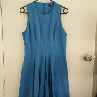 Pleated Blue Cue Dress Sz 10