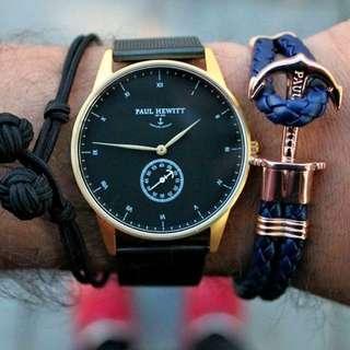 (代購)德國品牌Paul Hewitt Signature 簽名系列手錶 黑面金/玫瑰金框 黑色皮革錶帶