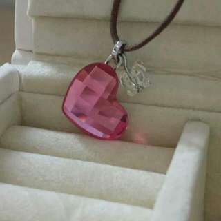 Swarovski Leather Necklace With Pink Heart And Clear-yellow Butterfly Pendant