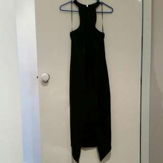 Levora Bodycon Black Full-length Dress W Centre Slit