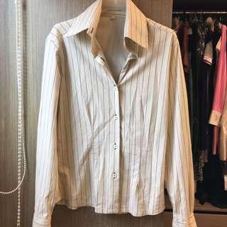 米色條紋棉質襯衫