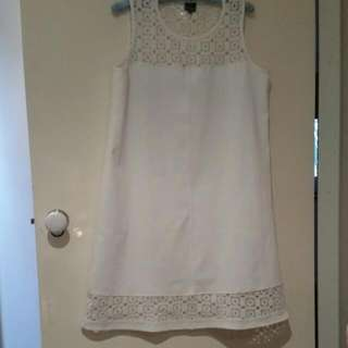 White Shift Dress With Lace Detail