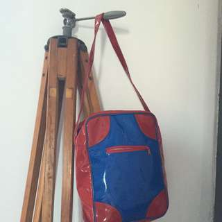Small red and blue small handbag