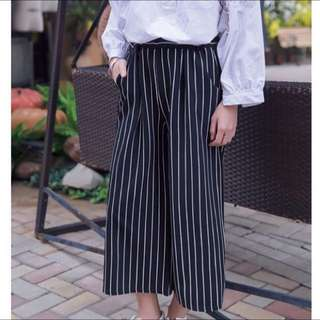 條紋鬆緊九分寬褲