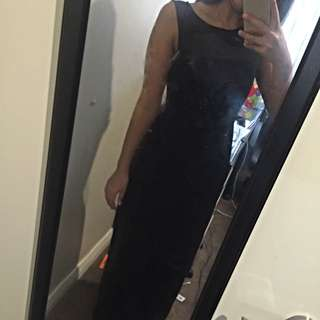 Black Maxi Forever New Top Mesh Dress Size 10
