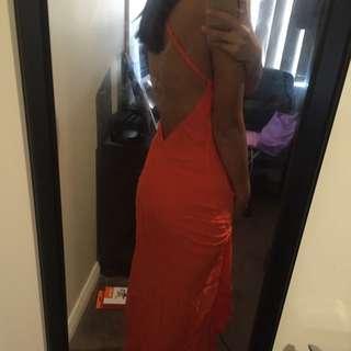 Orange/Peach Open Back Maxi Dress Size M