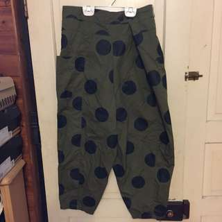 E-wear墨綠色點點造型老爺褲