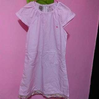 大女孩17號粉紅條紋洋裝
