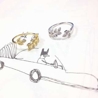 (斷貨款特價) 正韓 韓國空運 葉子系列 金葉 銀葉 小草 植栽 桂冠 編織 開口 可調式 尾戒 戒指
