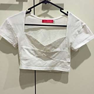 White Tshirt Sleeve Crop Top
