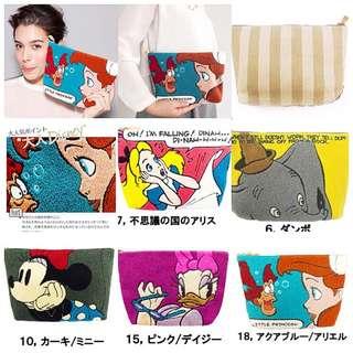 日本disney Accommode 手拿包 化妝包 愛麗絲 小飛象 艾莉兒 小美人魚