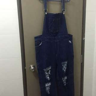 (REDUCE) Ripped Overall Denim