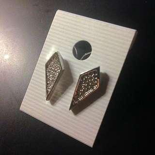 菱形 閃鑽 耳環 飾品