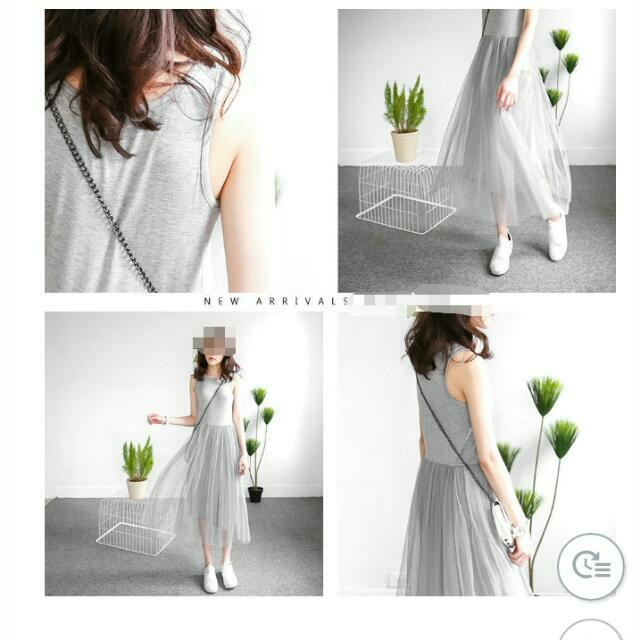 灰色長紗裙