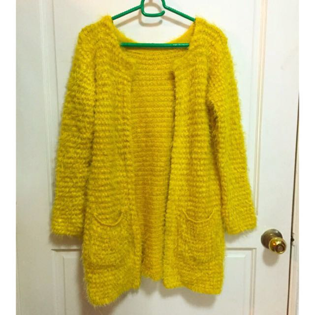 全新芥末黃絨毛針織長版外套