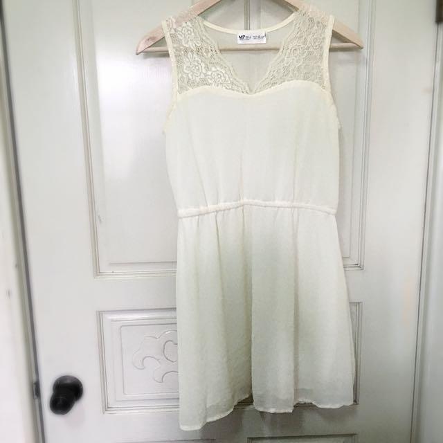 雙層雪紡米白拼接洋裝