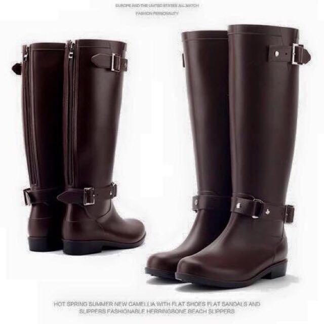 高筒雨鞋 棕色36