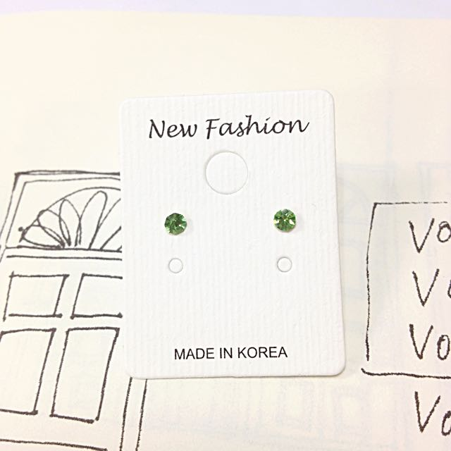 正韓 韓國空運 微寶石感 迷你鑽 小鑽 鋯石 彩鑽 祖母綠 綠鑽 翠綠 耳針 耳環