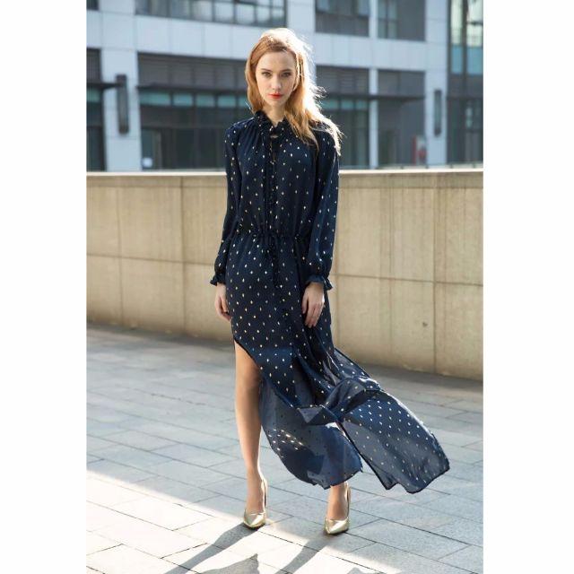 藍色燙金開岔 雪紡洋裝 歐美 韓版 時尚 連身裙 洋裝 黑金 暗黑 歌德 似Zara