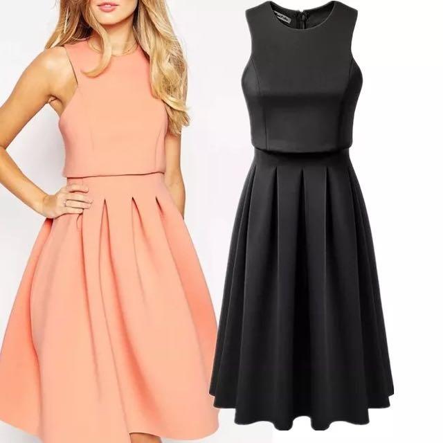 ASOS同款時尚氣質無袖長款 洋裝 禮服 連衣裙女 粉 黑 藍 紅(似Zara)