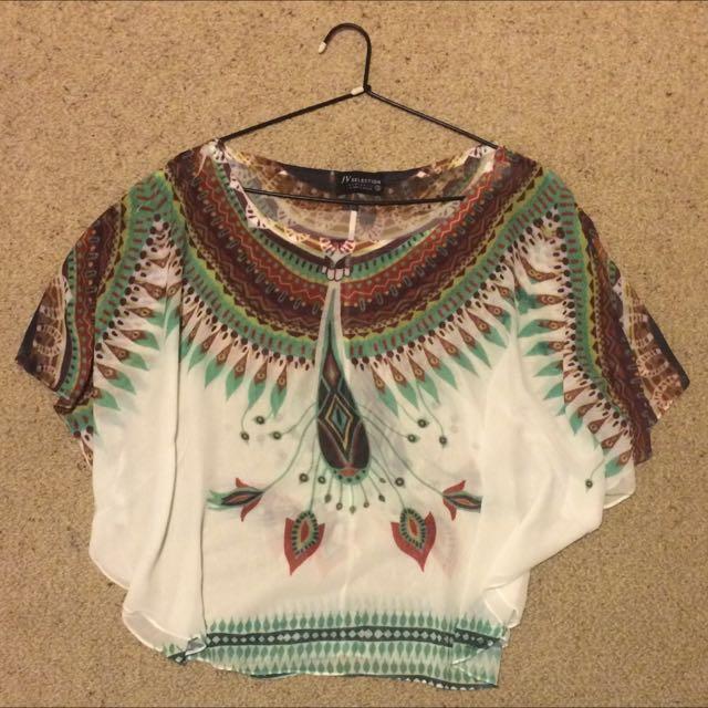 Aztec Pattern Shirt / Blouse. Size Small