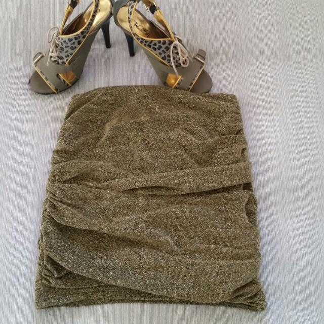 Bardot Gold Glitter Skirt