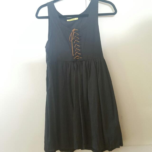 Black Baby Doll Dress With Lace Up Detailing