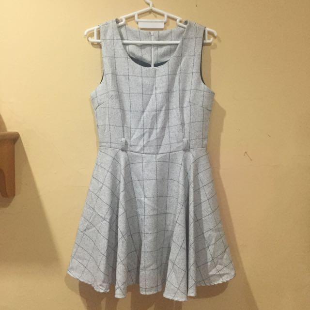 Checkered Light Grey Dress