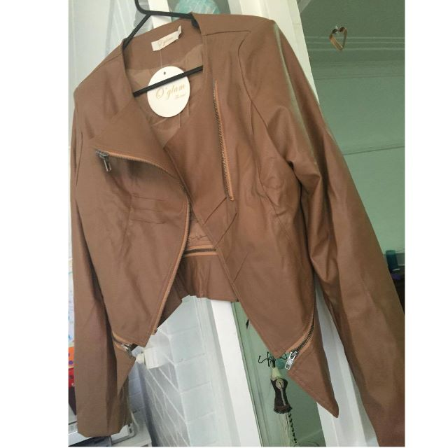 Fake leather jacket Size 12 in Tan