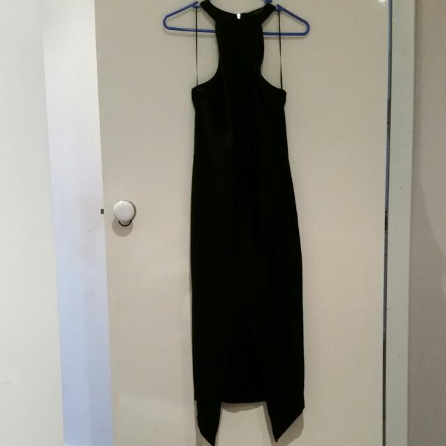 Levora Bodycon Black Full-length Dress W Centre Slit