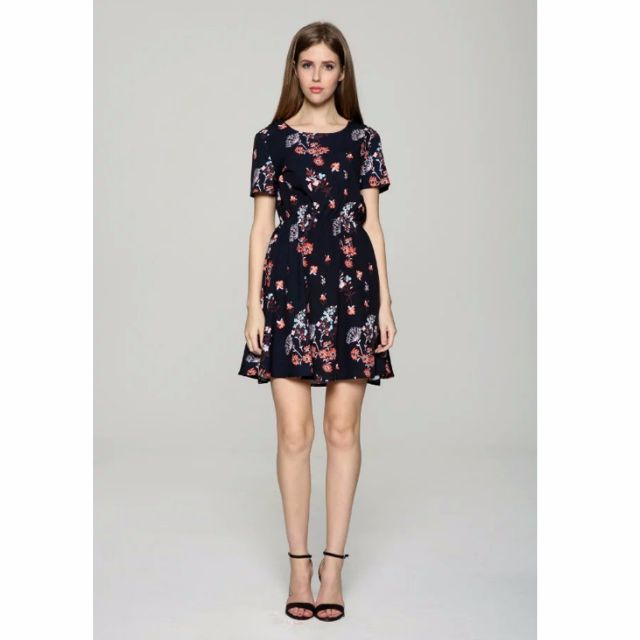 Mango同款夏季圓領時尚氣質花朵印花 洋裝 禮服 連衣裙女(似Zara)