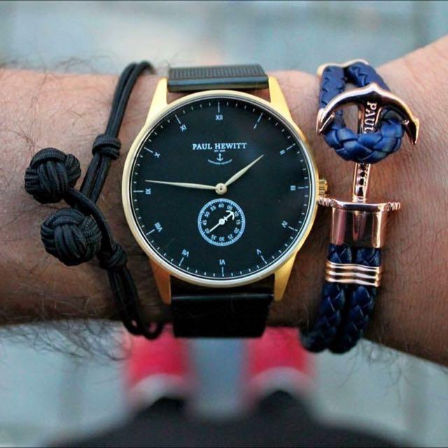 (代購)德國品牌Paul Hewitt 船錨手環藍色皮革 金扣/銀扣