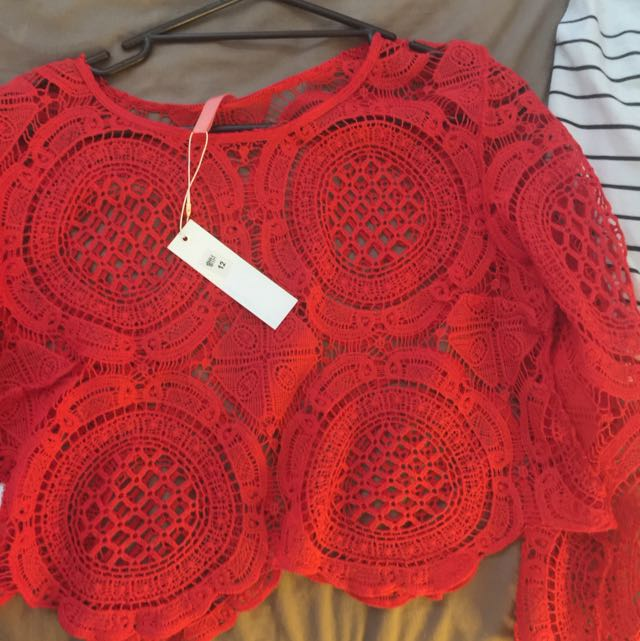Red Lace Crop Too