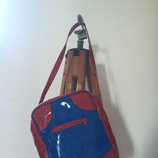 Small red and blue small handbag