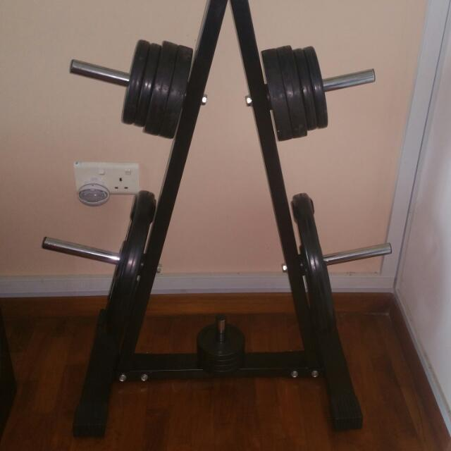 Standard size weight plates weight tree and barbells starter gym