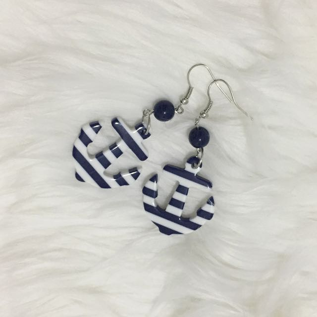 Striped Anchor Earrings