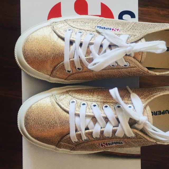 Superga Gold Lame Sneakers